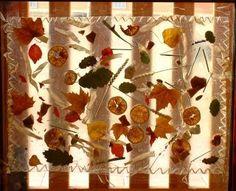 Vidriera:  - Sobre la taula es disposa el material: paneres amb els materials diferents ( fulles, taronges, espigo,..) i un tros d'airon-fix  - Els infants enganxen lliurement a l'airon-fix els elements de les paneres fins que l'omplen.  - L'educadora cobreix l'airon-fix amb cel.lofana transparent i fa una vora cosida amb ràfia .  - Es penja com a transparència a un vidre.