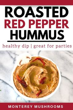 Roasted red pepper hummus is packed with flavor and great for a healthy snack recipe. Try this homemade hummus recipe asap. Mushroom Appetizers, Yummy Appetizers, Yummy Snacks, Appetizer Recipes, Healthy Snacks, Snack Recipes, Vegetarian Mushroom Recipes, Best Mushroom Recipe, Mushroom Side Dishes
