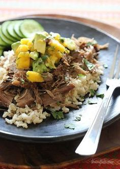 Slow Cooked Jerk Pork with Carribean Salsa from Skinnytaste; this delicious jerk pork can cook all day while you're at work! [Featured on SlowCookerFromScratch.com] #SlowCooker #CrockPot #SlowCookerFromScratch