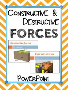 Constructive & Destructive Forces PowerPoint Presentation.  Also covers how we prevent destructive forces. Aligned with 5th Grade Standards in Georgia.  100% Editable. Paid