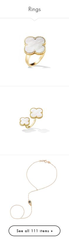 """""""Rings"""" by z777 ❤ liked on Polyvore featuring jewelry, rings, van cleef arpels jewelry, white jewelry, white ring, bracelets, rose gold, diamond evil eye jewelry, hand chain jewelry and 14k black gold jewelry"""