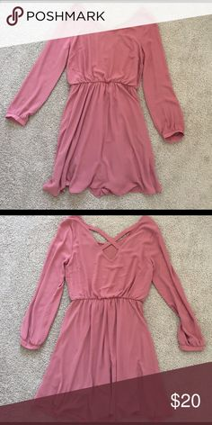 Deep blush long sleeved dress size: Small Long sleeved with crossed back detailing, flowing with elastic at waist, deep blush color, versatile as it can be dressed up or made more casual, worn once, amazing condition Lush Dresses Long Sleeve