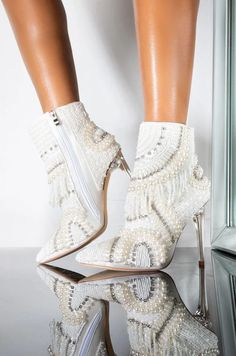 AZALEA WANG ILLUSIONS CAN BE DECEIVING STILETTO BOOTIE IN WHITE Your Shoes, Pearl White, Snug Fit, Fashion Tips, Fashion Design, Fashion Trends, Illusions, Stiletto Heels, Boots