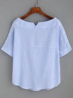 Blusa a rayas escote barco con botones -azul-Spanish SheIn(Sheinside) - #moldes #dicas #moda