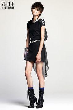 Othermix- Tulle-Overlay Panel-Sleeve Dress