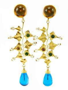 1980's Dominique Aurientis Large Drop Earrings by House of Lavande from House of Lavande Vintage