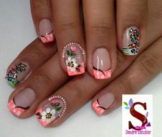 Flores French Nail Art, French Tip Nails, Gel Designs, Cute Nail Designs, Mani Pedi, Manicure And Pedicure, Gel Nail Art, Nail Polish, Love Nails