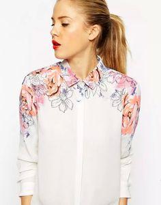 Shop ASOS Pretty Floral Placement Print Blouse at ASOS. White Chiffon Blouse, Floral Blouse, Printed Blouse, Blouse Dress, Sleeveless Blouse, Diy Clothes, Clothes For Women, Painted Clothes, White Long Sleeve