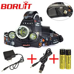 8000 Lm Boruit  3L2 Rechargeable Headlamp Outdoor Headlight linterna frontal For Hunting 18650 battery /Charger + USB Cable