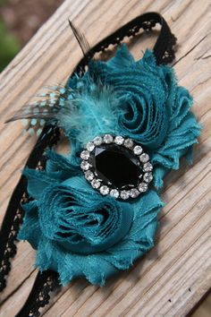 Newborn teal and black shabby flower headband, newborn headband, infant headband, baby headband, photo prop