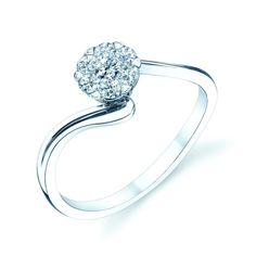 Curved Diamond Ring with 0.20ctw in 14K White Gold - Rings - Diamond Jewelry