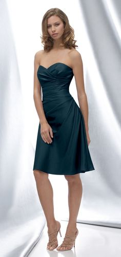 dark teal bridesmaid dress with some nice shirred detail