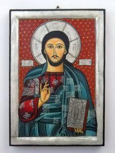 Jesus Christ PantokratorRomanian Byzantine Icon by DeniseClemenco