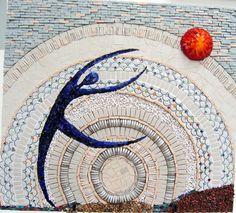 Smalti (Venetian glass), ceramic, marble chips, moretti glass rods, semi-precious stones. 20 inch x22 inch