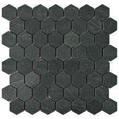 Merola Tile Crag Hexagon Black 11 1 8 In X