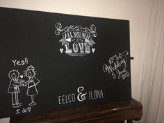 Gastenboek - krijtbord - chalkboard met acryl, dus blijvend en vlekt niet!