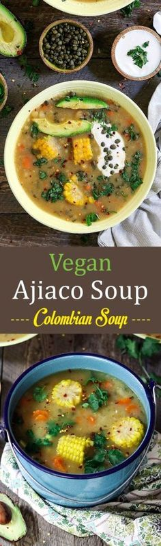 Vegan Ajiaco is a satisfying, one-pot meal that is made with 3 types of potatoes and served with sliced avocado, capers, and tangy cream. Veggie Recipes, Soup Recipes, Whole Food Recipes, Vegetarian Recipes, Cooking Recipes, Healthy Recipes, Recipies, Vegan Soups, Vegan Dishes