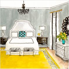 Interior Design Bedroom Sketches living room rendering | living rooms, room and sketches