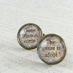 Sherlock Holmes Cuff Links - London Map Baker Street - Come, Watson, come. The game is afoot