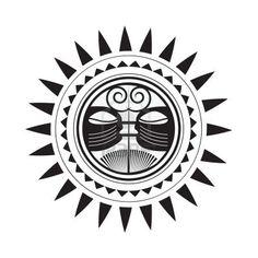 A sun design in Polynesian tattoo style showing spirits.