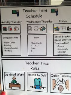 Visual reminders for the teacher to help with scheduling.