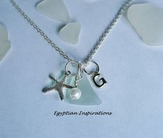 Personalized Sea Glass Necklace  Monogram by EgyptianInspirations, $24.99