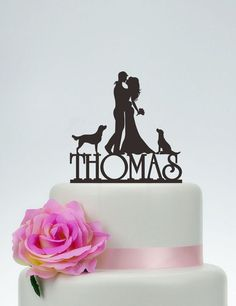 Wedding Cake TopperBride and Groom Cake TopperCouple SilhouetteCustom Cake TopperDog Cake TopperFunny Cake Topper C087