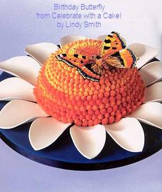 Flower cake with butterfly by Lindy Smith