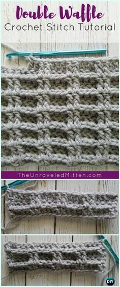 How to Crochet Double Waffle Crochet Stitch - Free Waffle Stitch Patterns and tutorials (linked) at DIYHowto Tunisian Crochet Stitches, Crochet Stitches Patterns, Stitch Patterns, Knitting Patterns, Crochet Crafts, Crochet Yarn, Crochet Hooks, Crochet Ideas, Crochet Double