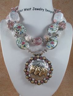 Cowgirl Necklace Set - Chunky Pink and White Turquoise  - Three Horses Concho Pendant