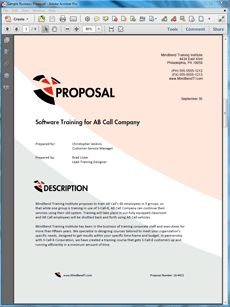 Training Services Sample Proposal - The Training Services Proposal is an example of a proposal using Proposal Pack to pitch computer software training services to another company. Create your own custom proposal using the full version of this completed sample as a guide with any Proposal Pack. Hundreds of visual designs to pick from or brand with your own logo and colors. Available only from ProposalKit.com (come over, see this sample and Like our Facebook page to get a 20% discount)