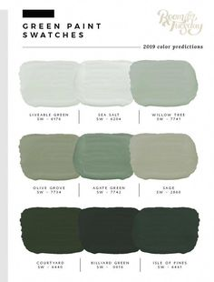 Predicted Paint Colors for 2019 I&;ve looked through the swatch books and have compiled the 2019 pred&; Predicted Paint Colors for 2019 I&;ve looked through the swatch books and have compiled the 2019 pred&; art […] for home living room color trends Green Paint Colors, Exterior Paint Colors, Exterior House Colors, Sage Green Paint, Sage Green Walls, Light Green Walls, Sage Color, Gray Green, Olive Green Paints