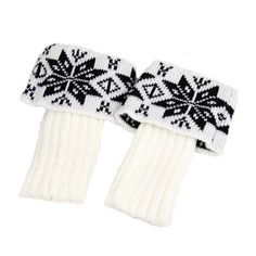 RICCOS (TM) Women's Fashion Winter Knitted Warm Boot Cuffs Toppers Leg Warmer Socks with Snowflake pattern (White). RICCOS is a Registered TradeMark. Material: 100 % Supersoft Acrylic Cashmere-like. size:19cm+8cm. Colour: White. The necessary accessory for the winter season.