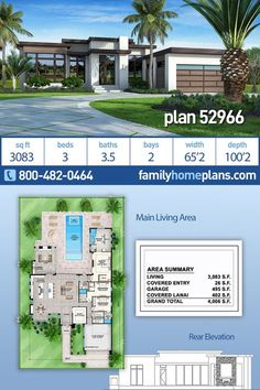 This modern house plan features 3 bedrooms bathrooms and 2 car garage in a 3083 sq ft Contemporary design. Its design includes a slab foundation, concrete block walls and a flat roof. Modern House Floor Plans, Beach House Plans, Contemporary House Plans, Cottage House Plans, Craftsman House Plans, Bedroom House Plans, Dream House Plans, Modern House Design, Contemporary Design