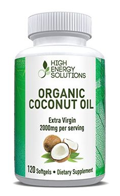 Organic Coconut Oil 2000mg Cold Pressed  Unrefined 120 Pure Extra Virgin Softgels Rich In MCFA and MCTs Promotes Healthy Metabolism Heart Health Weight Loss Energy Hair Skin  100 Guarantee ** Click image for more details.