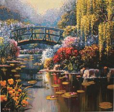 Pond Garden Scenery Needlework Crafts Handmade embroidery French DMC Quality Counted Cross Stitch Kit Set DIY Home decor Landscape Art, Landscape Paintings, Oil On Canvas, Canvas Art, Thomas Kinkade, Watercolor Trees, Beautiful Pictures, Scenery, Fine Art