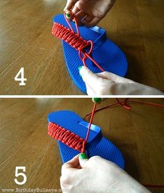 How to make DIY flip flops for men that they'll actually wear! Homemade Birthday Gift Tutorial: Paracord Flip Flops For Men | BirthdayBullseye.com #DIY #Birthday #Gifts