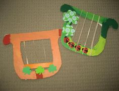 Cardboard Irish Harp - perfect for a St Patrick's Day Craft or if you are learning about Ireland.