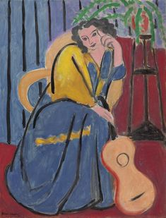 Henri Matisse - Girl in Yellow and Blue with Guitar, 1939 Oil on canvas, x cm, Art Institute, Chicago Henri Matisse, Matisse Kunst, Matisse Art, Matisse Paintings, Picasso Paintings, Matisse Pinturas, Art Institute Of Chicago, Beautiful Paintings, Oeuvre D'art