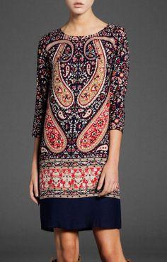 Vintage Pattern Print | Open Back Chiffon Dress