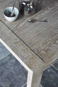 Mesa de comedor de roble macizo blanco An. 200 cm | Maisons du Monde