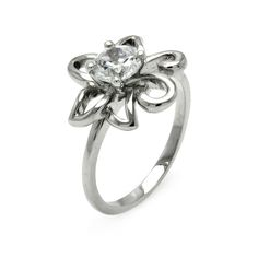 Ladies Jewelry Cubic Zirconia Center Rhodium Plated Flower Brass Ring Width: 14.8 mm Center Stone: 5.15 mm