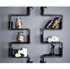 Preview Industrial Retro Style DIY Iron Pipe Shelf Wall Mount Bookshelf Storage 1 pair by TheKathHomeroom,