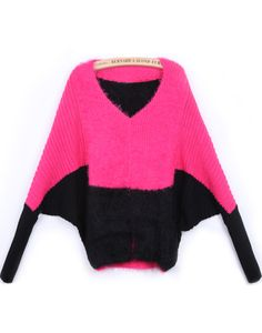 Rose Red V Neck Batwing Long Sleeve Mohair Sweater US$31.97