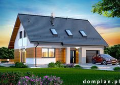 Projekt domu: Marsala Bungalow Conversion, Garage Double, Wooden Pallet Furniture, Prefabricated Houses, Construction, Facade House, Marsala, Home Projects, House Plans