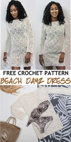 This on-trend dress will have heads turning on your day at the beach. It's beautiful design is perfect to throw over your favourite swimsuit and soak up a few rays. Crochet Summer, Cute Crochet, Crochet Hats, Knitting Patterns Free, Free Pattern, Crochet Patterns, Trend Dress, Crochet Fashion, Beach Dresses
