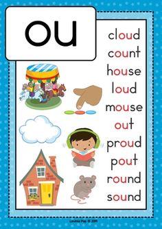 Digraph / Vowel Team OU: Phonics Word Work {Multiple Phonograms} by Lavinia Pop Preschool Phonics, Phonics Rules, Alphabet Phonics, Phonics Lessons, Jolly Phonics, Teaching Phonics, Preschool Learning Activities, Teaching Kids, Work Activities