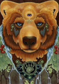 Earth Spirit by Ravynne Phelan Bear Spirit Animal, Animal Spirit Guides, Spirit Bear, American Indian Art, Native American Art, Tattoo Indien, Bear Totem, Animal Medicine, Bear Tattoos