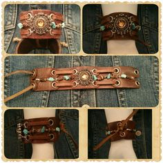 Upcycled / Repurposed vintage  leather belt to cuff bracelet with faux rhinestone and stones. Western, Country, Bohemian, Chic style. (Made by Aida)