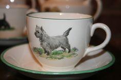 Morley Pottery, hand painted Dulcie Vaughan. part tea set, West Highland Terrier Dog.
